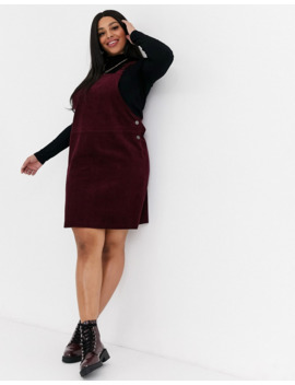 New Look Curve Cord Pinny In Burgundy by New Look