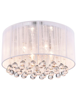 Belle 4 Light White Thread And Chrome Flush Mount With Hanging Crystals Glam by Edvivi Lighting