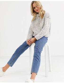 New Look – Grå Teddyfleece Med Dragkedja by New Look