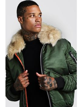 Padded Ma1 Bomber With Faux Fur Collar by Boohoo