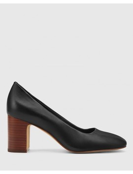 Gale Black Leather Square Toe Block Heel by Wittner