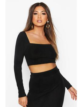 Ribbed Long Sleeve Crop by Boohoo
