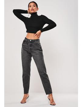 Tall Black Riot Highwaisted Mom Jeans by Missguided