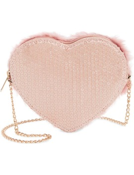 Faux Fur Heart Crossbody Bag by Capelli New York