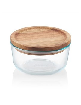 Round Storage Container With Wooden Lid 4 Cup by Pyrex