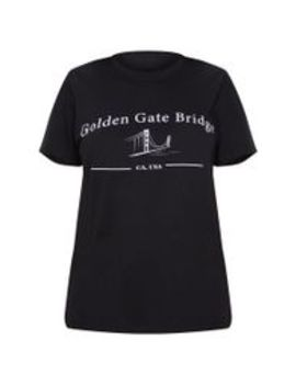 Black Golden Gate Slogan T Shirt by Prettylittlething