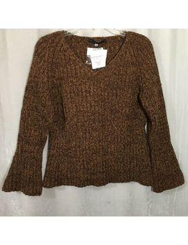 Peruvian Connection Tobacco Bell Sleeved V Neck Sweater Golden Brown Xl Nwt by Peruvian Connection