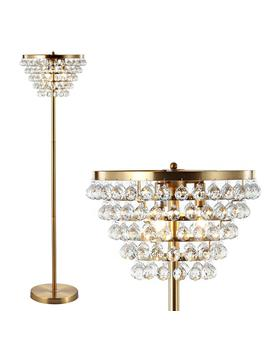 Jemma 60 In. Brass Gold/Clear Crystal/Metal Led Floor Lamp by Jonathan Y