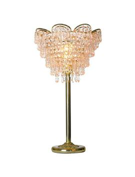 24 In. Gold Table Lamp With Cascading Crystal Cut Glass by River Of Goods