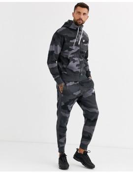 Nike Club Zip Through Hoodie In Camo Print by Nike