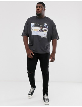 Asos Design Plus Ice Cube Oversized T Shirt In Washed Black by Asos Design