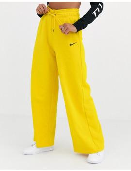 Nike Wide Leg High Waisted Yellow Joggers by Nike