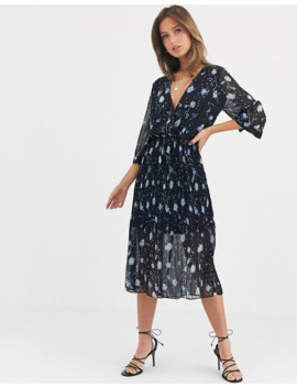 Liquorish Wrap Front Midi Dress With Pleated Skirt In Blue Floral by Liquorish