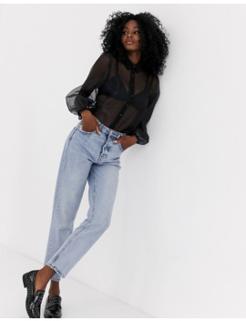 New Look Organza Puff Sleeve Long Sleeve Blouse In Black by New Look
