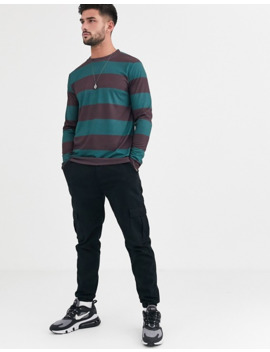 Asos Design Long Sleeve Wide Stripe T Shirt In Burgundy And Green by Asos Design