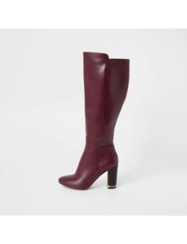 Purple Knee High Chain Heeled Boots by River Island