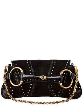 Gucci Black Suede Horsebit Shoulder Bag by Gucci