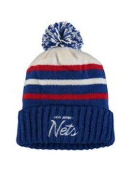 New Jersey Nets Mitchell & Ness Color Block Special Script Cuffed Knit Hat With Pom   Royal by Mitchell & Ness