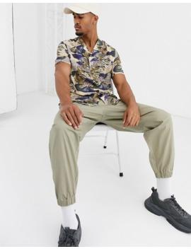 Topman Short Sleeve Shirt With Floral Print In Ecru by Topman