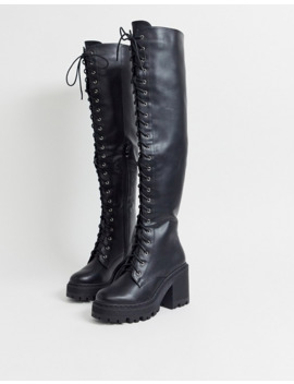 Truffle Collection Over The Knee Chunky Lace Up Boot by Asos