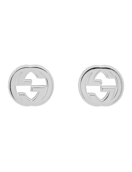 Silver Interlocking G Stud Earrings by Gucci