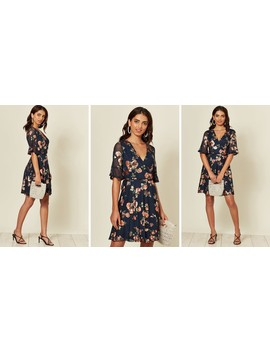 Lace Wrap Dress In Shiny Navy Floral Print by Tenki London