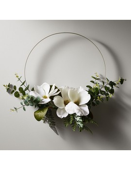 Modern White Floral Wreath by Target