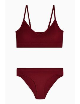 Burgundy Seamless Underwear Set by Topshop