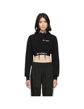 Black Cropped New Basic Hoodie by Palm Angels