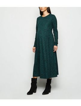 Maternity Dark Green Ditsy Floral Midi Dress by New Look