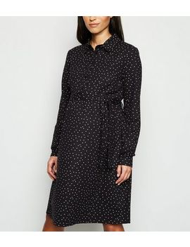 Maternity Black Spot Belted Shirt Dress by New Look