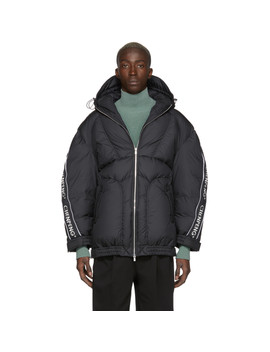 Black Down Puffer Hoodie Coat by Chen Peng