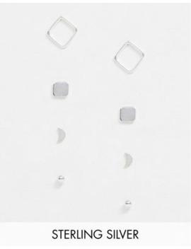 Kingsley Ryan Exclusive Sterling Silver Mulitpack With Four Pairs Mixed Stud Earrings by Kingsley Ryan