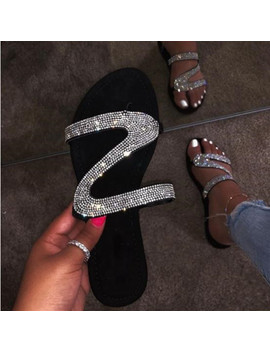 2019 Women Slippers Flip Flops Summer Women Crystal Diamond Bling Beach Slides Sandals Casual Shoes Slip On Slipper by Ali Express.Com