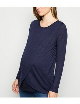 Maternity Navy Long Sleeve Wrap Nursing Top by New Look