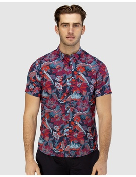 Hawaiian Print Short Sleeve Casual Shirt by Brooksfield