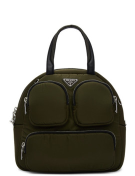 Khaki Large Duffle Bag by Prada