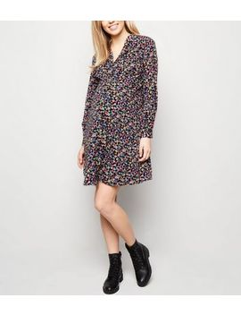 Maternity Black Floral Button Up Tea Dress by New Look
