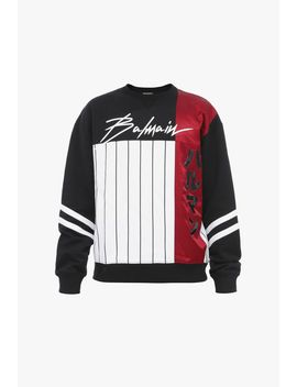 Black And Red Cotton Sweatshirt With Balmain Logo Print by Balmain