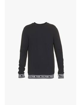 Black Cotton Sweatshirt With Balmain Paris Logo by Balmain