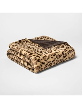 Leopard Faux Fur Throw Blanket Neutral   Threshold™ by Threshold