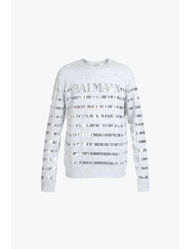 Striped Cotton Sweatshirt With Balmain Logo by Balmain