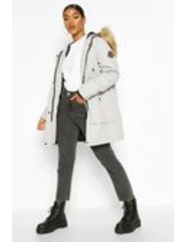 Belted Parka With Faux Fur Trim Hood Belted Parka With Faux Fur Trim Hood by Boohoo