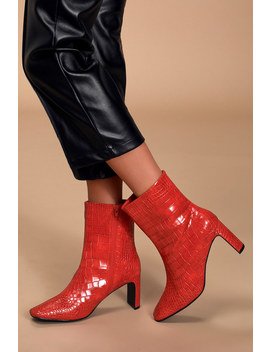 Believable Red Crocodile Embossed Square Toe Booties by Lulu's