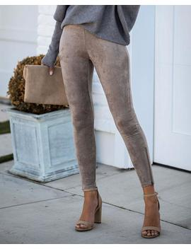 Forever Suede Zip Leggings   Taupe by Vici
