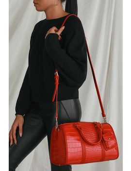 Get The Bag Red Crocodile Embossed Mini Duffle Bag by Lulus