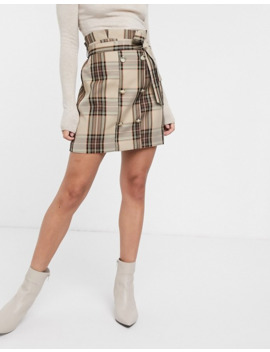 River Island Mini Skirt With Button Detail In Brown Check by River Island