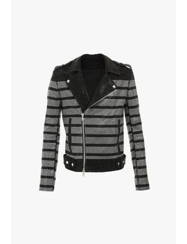 Striped Cotton Biker Jacket With Rhinestones by Balmain