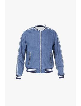 Blue Denim Bomber Jacket With Balmain Logo by Balmain