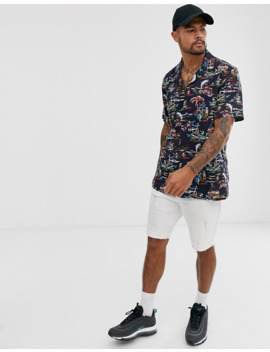 Pull&Bear Short Sleeved Shirt With Tropical Print In Navy by Pull&Bear